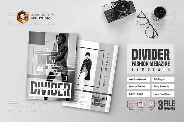 黑白摄影展示服装展示画册模板