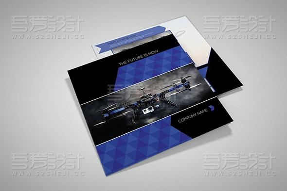 蓝色科技产品展示无人机展示三折页模板